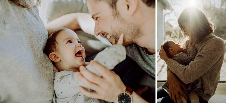 Fotoshooting zu Hause mit Baby